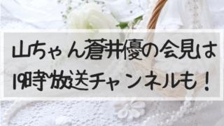 山ちゃん蒼井優結婚会見ホテル生中継放送チャンネル