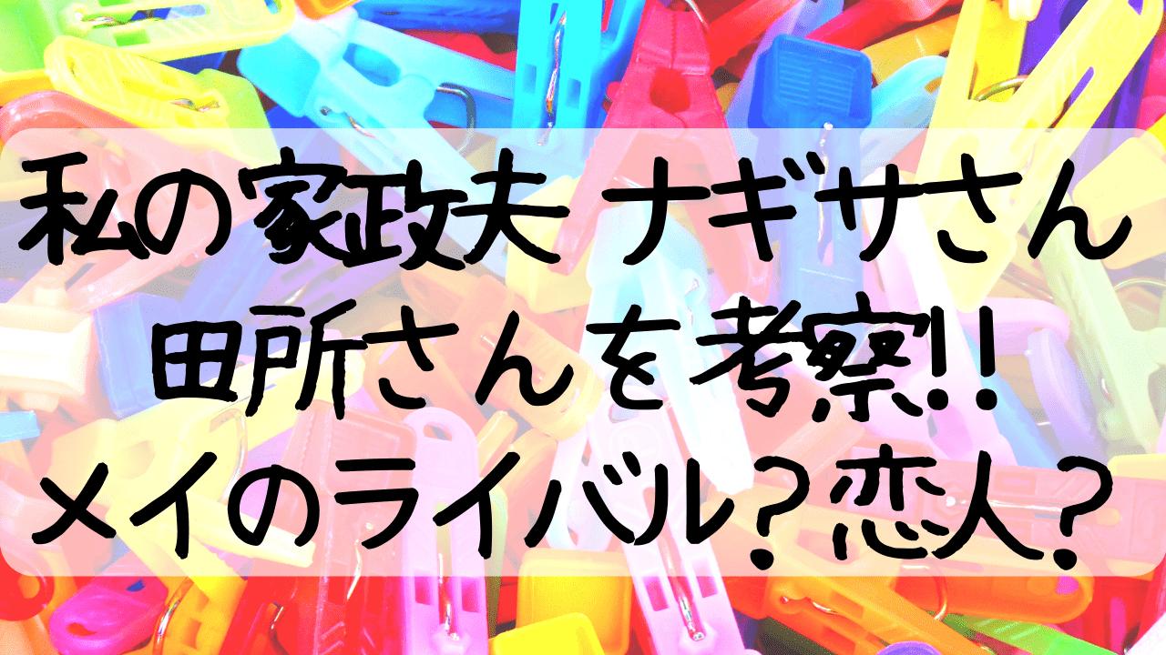 私の家政婦ナギサさん,田所,田所優太,考察,瀬戸康史,メイ,ライバル,恋,恋人,わたなぎ